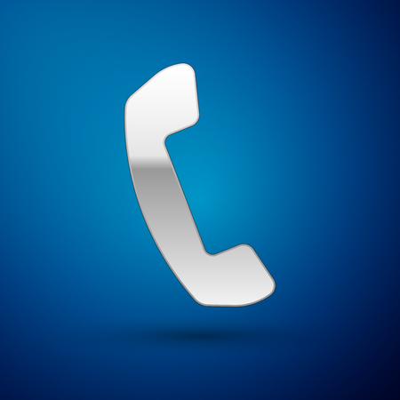 Silver Telephone handset icon isolated on blue background. Phone sign. Vector Illustration