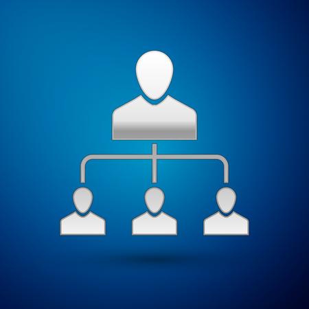 Silver Referral marketing icon isolated on blue background. Network marketing, business partnership, referral program strategy. Vector Illustration Illustration
