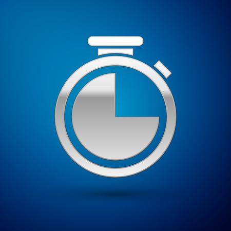 Srebrna ikona stopera na białym tle na niebieskim tle. Znak zegara czasu. Ilustracja wektorowa