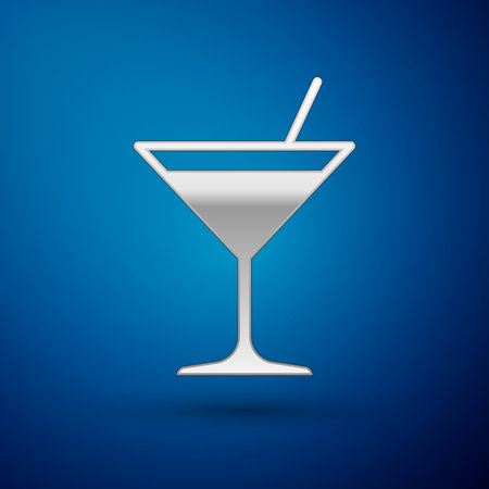 Silver Martini glass icon isolated on blue background. Cocktail icon. Wine glass icon. Vector Illustration Illustration