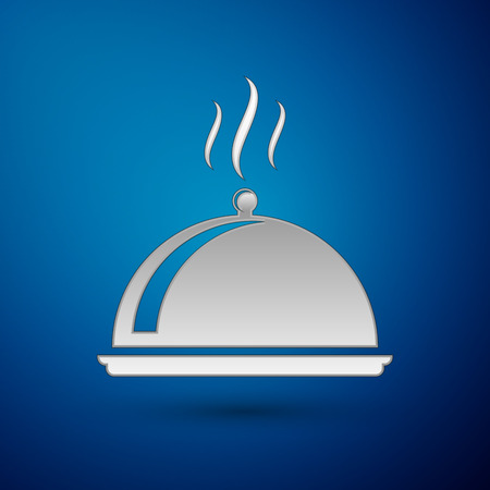 Silver Covered with a tray of food icon isolated on blue background. Tray and lid sign. Restaurant cloche with lid. kitchenware symbol. Vector Illustration