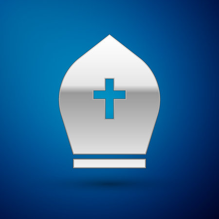 Silver Pope hat icon isolated on blue background. Christian hat sign. Vector Illustration