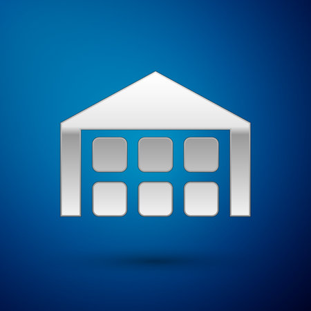 Silver Warehouse icon isolated on blue background. Vector Illustration
