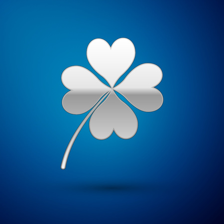 Silver Four leaf clover icon isolated on blue background. Happy Saint Patrick day. Vector Illustration