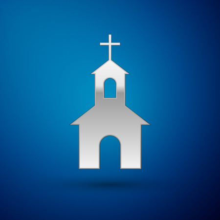 Silver Church building icon isolated on blue background. Christian Church. Religion of church. Vector Illustration