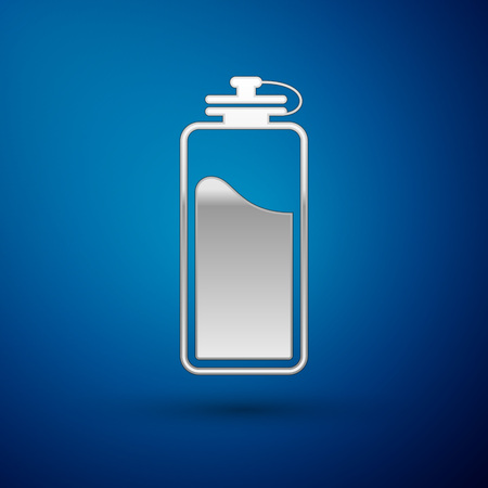 Silver Sport bottle with water icon isolated on blue background. Vector Illustration