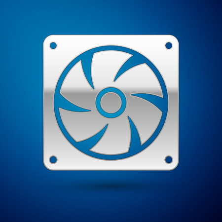 Silver Computer cooler icon isolated on blue background. PC hardware fan. Vector Illustration