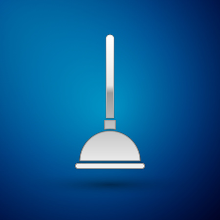 Silver Rubber plunger with wooden handle for pipe cleaning icon isolated on blue background. Toilet plunger. Vector Illustration Imagens - 124072254