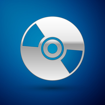 Silver CD or DVD disk icon isolated on blue background. Compact disc sign. Vector Illustration Illustration
