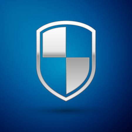 Silver Shield icon isolated on blue background. Guard sign. Vector Illustration