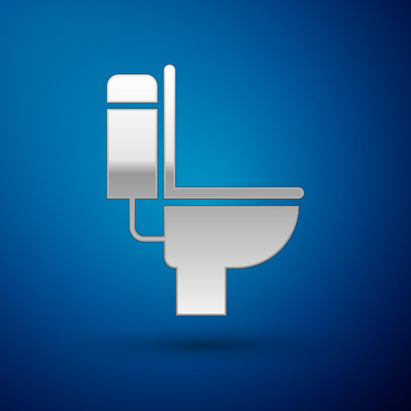 Silver Toilet bowl icon isolated on blue background. Vector Illustration