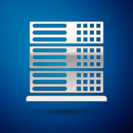 Silver Server, Data, Web Hosting icon isolated on blue background. Vector Illustration Vettoriali