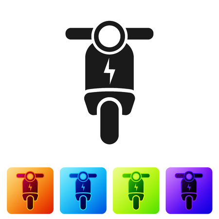 Black Electric scooter icon isolated on white background. Set icon in color square buttons. Vector Illustration