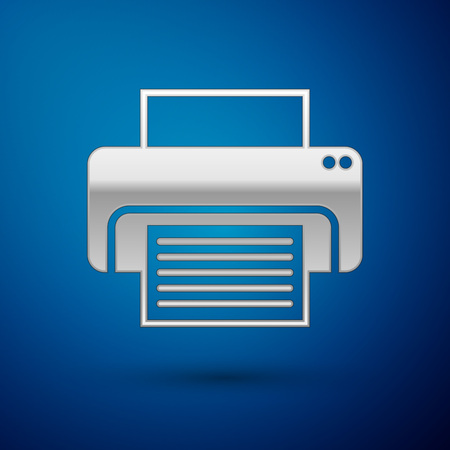 Silver Printer icon isolated on blue background. Vector Illustration Illustration