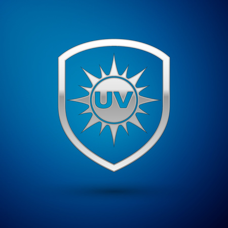 Silver UV protection icon isolated on blue background. Sun and shield. Ultra violet rays radiation. SPF sun sign. Vector Illustration