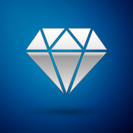 Silver Diamond sign isolated on blue background. Jewelry symbol. Gem stone. Vector Illustration