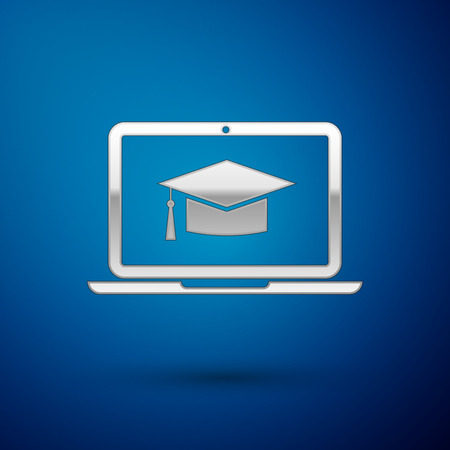 Silver Graduation cap on screen laptop icon isolated on blue background. Online learning or e-learning concept. Vector Illustration