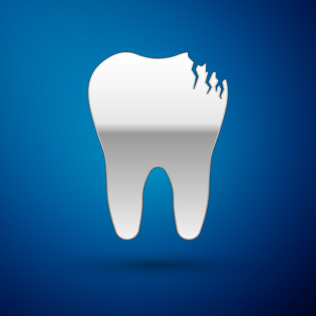 Silver Broken tooth icon isolated on blue background. Dental problem icon. Dental care symbol. Vector Illustration