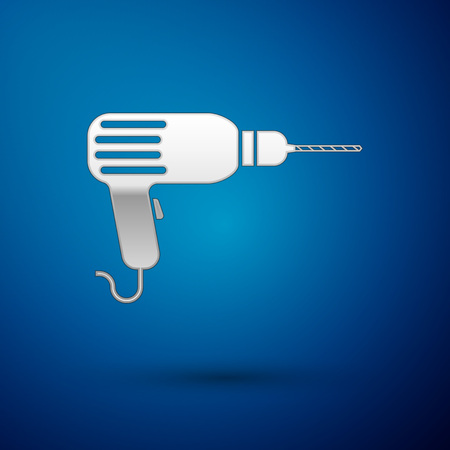 Silver Drill machine icon isolated on blue background. Vector Illustration