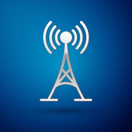 Silver Antenna icon isolated on blue background. Radio antenna wireless. Technology and network signal radio antenna. Vector Illustration