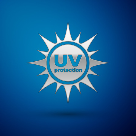 Silver UV protection icon isolated on blue background. Ultra violet rays radiation. SPF sun sign. Vector Illustration