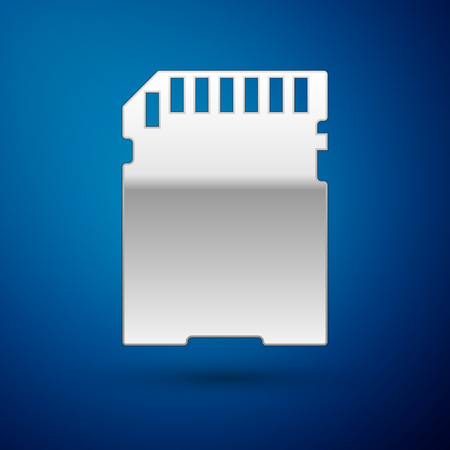 Silver SD card icon isolated on blue background. Memory card. Adapter icon. Vector Illustration