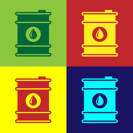 Color Barrel oil icon isolated on color backgrounds. Flat design. Vector Illustration