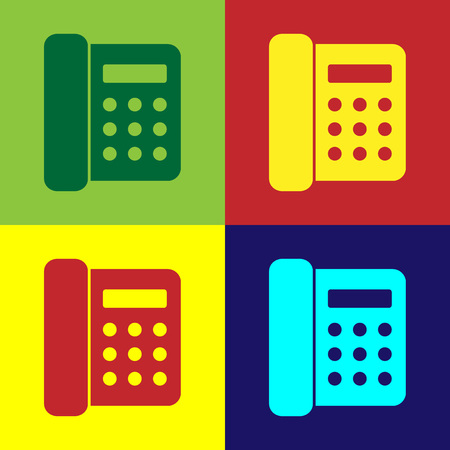 Color Telephone icon isolated on color backgrounds. Landline phone. Flat design. Vector Illustration Illustration