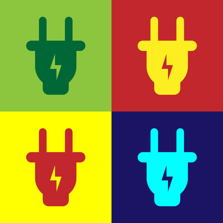 Color Electric plug icon isolated on color backgrounds. Concept of connection and disconnection of the electricity. Flat design. Vector Illustration