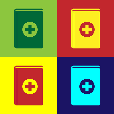 Color Medical book icon isolated on color backgrounds. Flat design. Vector Illustration Stock Illustratie