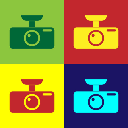Color Car DVR icon isolated on color backgrounds. Car digital video recorder icon. Flat design. Vector Illustration