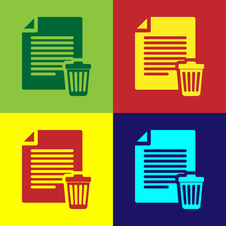 Color Delete file document icon isolated on color backgrounds. Paper sheet with recycle bin sign. Rejected document icon. Cross on paper. Flat design. Vector Illustration
