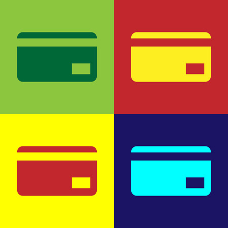 Color Credit card icon isolated on color backgrounds. Online payment. Cash withdrawal. Financial operations. Shopping sign. Flat design. Vector Illustration Vectores
