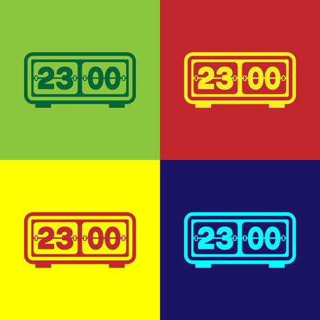 Color Retro flip clock icon isolated on color backgrounds. Wall flap clock, number counter template, all digits with flips. Flat design. Vector Illustration