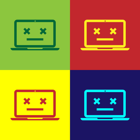 Color Dead laptop icon isolated on color backgrounds. 404 error like laptop with dead emoji. Fatal error in pc system. Flat design. Vector Illustration Illustration