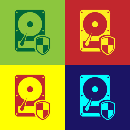 Color Hard disk drive HDD protection icon isolated on color backgrounds. Flat design. Vector Illustration