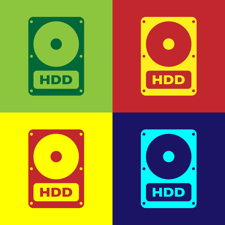 Color Hard disk drive HDD icon isolated on color backgrounds. Flat design. Vector Illustration Illustration