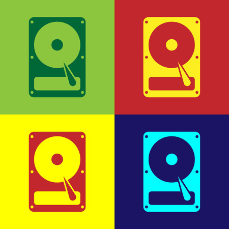 Color Hard disk drive HDD icon isolated on color backgrounds. Flat design. Vector Illustration Illusztráció