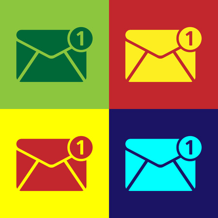 Color Envelope icon isolated on color backgrounds. Received message concept. New, email incoming message, sms. Mail delivery service. Flat design. Vector Illustration