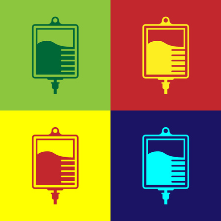Color IV bag icon isolated on color backgrounds. Blood bag icon. Donate blood concept. The concept of treatment and therapy, chemotherapy. Flat design. Vector Illustration Ilustración de vector