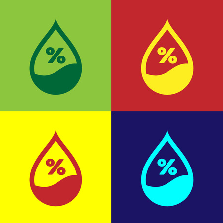Color Water drop percentage icon isolated on color backgrounds. Humidity analysis. Flat design. Vector Illustration