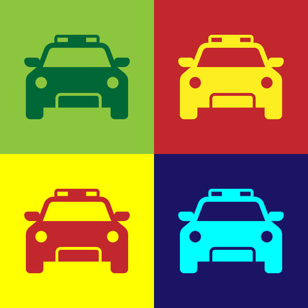 Color Police car and police flasher icon isolated on color backgrounds. Emergency flashing siren. Flat design. Vector Illustration