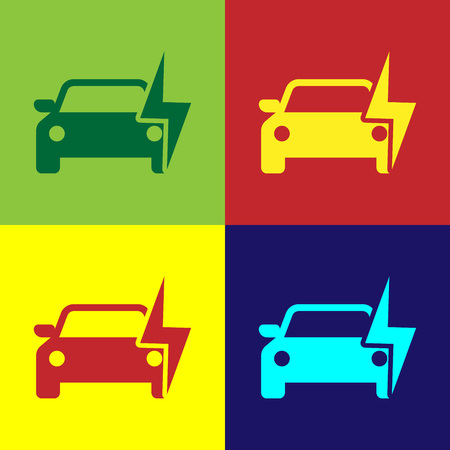 Color Electric car and electrical cable plug charging icon isolated on color backgrounds. Renewable eco technologies. Flat design. Vector Illustration