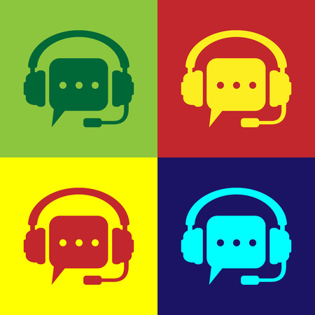 Color Headphones with speech bubble icon on color backgrounds. Support customer services, hotline, call center, guideline, faq, maintenance, assistance. Flat design. Vector Illustration