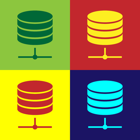 Color Server, Data, Web Hosting icon isolated on color backgrounds. Flat design. Vector Illustration Illustration