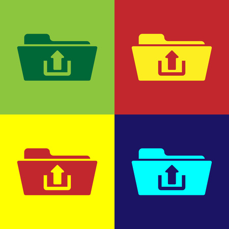 Color Folder upload icon isolated on color backgrounds. Flat design. Vector Illustration