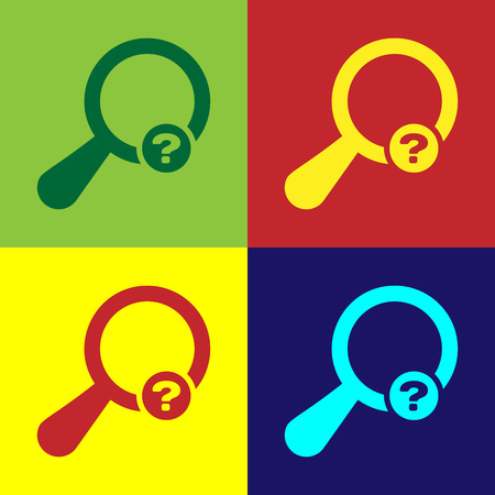 Color Unknown search icon isolated on color backgrounds. Magnifying glass and question mark. Flat design. Vector Illustration