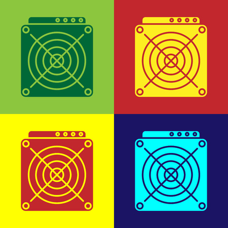 Color ASIC Miner icon isolated on color backgrounds. Cryptocurrency mining equipment and hardware. Application specific integrated circuit. Vector Illustration