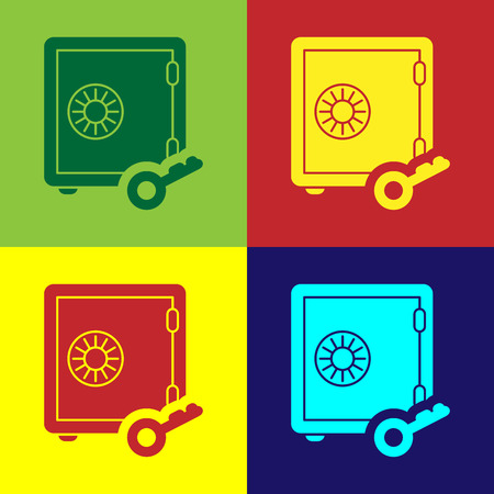 Color Proof of stake icon isolated on color backgrounds. Cryptocurrency economy and finance collection. Vector Illustration Çizim