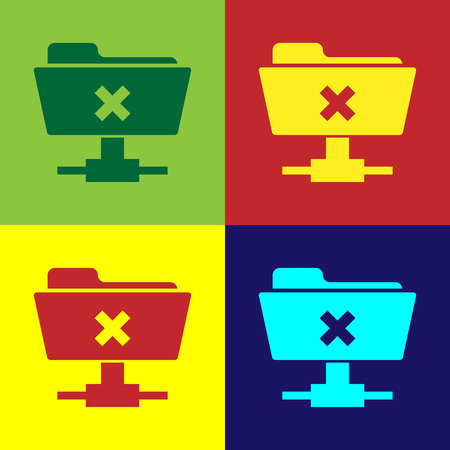 Color FTP cancel operation icon on color backgrounds. Concept of software update, transfer protocol, router, teamwork tool management, copy process. Flat design. Vector Illustration